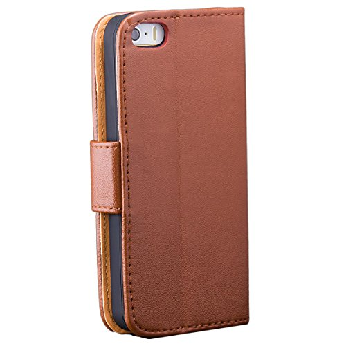 Apple iPhone SE / 5S / 5   Sac iCues Wallet Blanc   [Protecteur d'écran, y compris] cuir - faux livre charnière étui protecteur poche téléphone portable poche pour ouvrir Flip Case Cover Livret Wallet marron