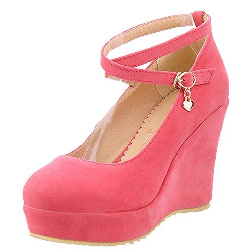 Scothen Femme Pompes coins talon compensé chaussures avec plateau classique Wedges confortable chaussures de soirée princesse de base costume de carnaval costume carnaval Plateau Wedge Pompes Rose