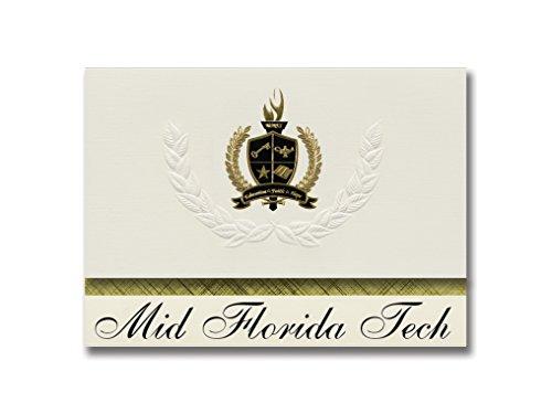 Signature Announcements Mid Florida Tech (Orlando, FL) Abschlussankündigungen, Präsidential-Stil, Grundpaket mit 25 goldfarbenen und schwarzen metallischen Folienversiegelungen (Florida Tech)