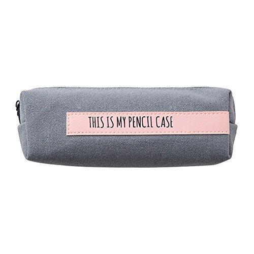 MSYOU Federmäppchen, einfaches großes Fassungsvermögen, Segeltuch, Schreibwaren-Box, Geschenk für Jungen Mädchen Junior High School Studenten Gray+Pink