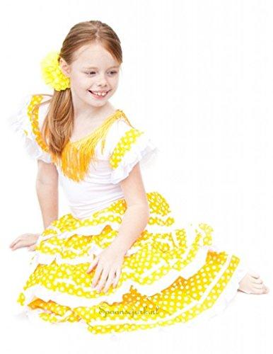 e Flamenco Kleid / Kostüm - für Mädchen / Kinder - Gelb Weiß - Größe 140-146 - Länge 95 cm (Mädchen Spanische Kostüme)