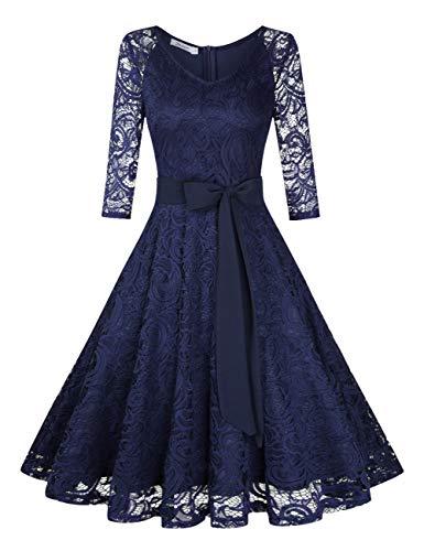 KOJOOIN Damen Vintage Kleid Brautjungfernkleid Knielang Langarm Spitzenkleid Cocktailkleid...
