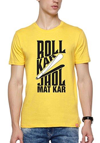 WYO Mens Graphic Printed T-Shirt ( Roll Kar,Yellow,Medium )