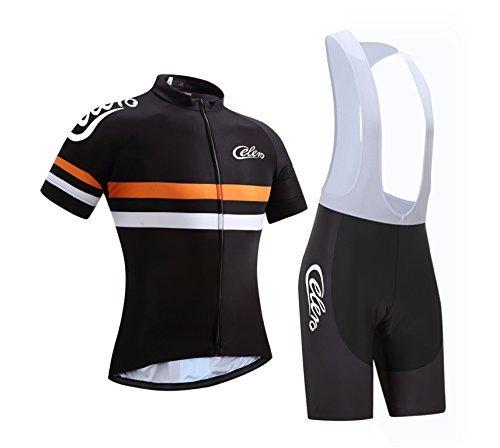 Equipación de ciclismo para hombre Celero de manga corta y pantalones, color naranja, tamaño L