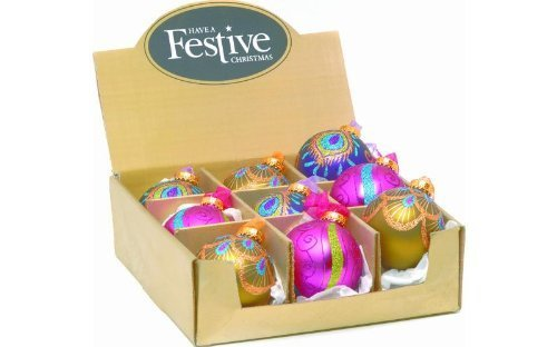 1x Box of 9x 80mm Assorted Christmas Tree Decorations