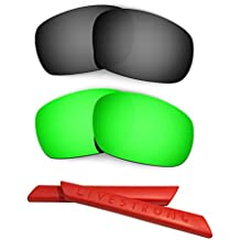 HKUCO Black/Green Polarized Replacement Lenses plus Red Earsocks Rubber Kit For Oakley Racing Jacket