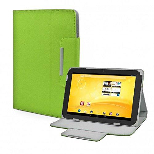 eFabrik Schutz Tasche für TrekStor Volks-Tablet 3G (VT10416-2) Tablet-PC Volks-Tablet 2 Schutztasche Zubehör Hülle mit Aufsteller in hochwertiger Leder-Optik grün