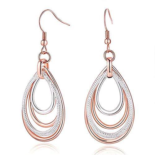 Leiona Rose Gold Ohrring/Silber Two Tone Multilayer Ohrringe Zubehör für Frauen (Tone Two Ohrringe)