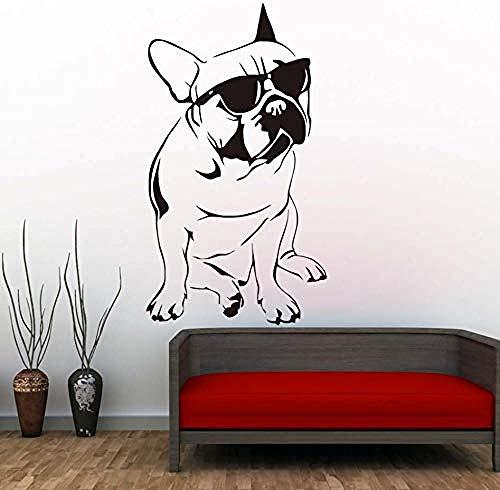 Schlafzimmer Wandaufkleber Hübsche Französische Bulldogge Mit Sonnenbrille Wandaufkleber Jungen Schlafzimmer Dekorative Vinyl Tier Wandtattoo58X104Cm