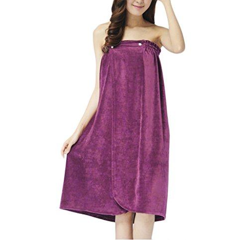 Wellness-kleid (Liying Damen-Badetuch / Wellness-Kleid / Morgenmantel zum Wickeln, weich, saugfähig, trägerlos, Velours, violett, Einheitsgröße)
