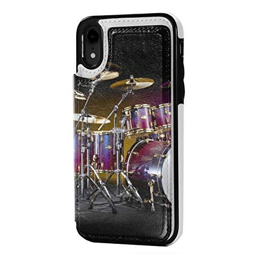 MoMo iPhone XR Fall Drumset Hintergrund Leder Kreditkarte-Schlitz-Halter Soft-Closure-Schutzüberzug