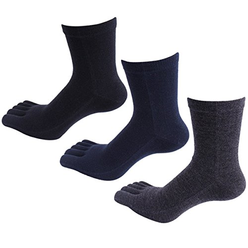 Panegy - 3 Paires de Chaussettes Cinq Doigts De Pieds Pour Homme en Coton Confortable et Respiration - Chaussettes à Motif - Uni - Noir/Bleu/Gris tail
