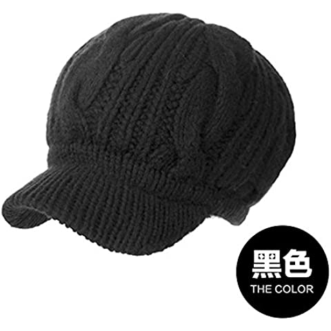 Dngy*Cappelli invernali bambini autunno inverno marea maglia spessa cappello caldo pieno lavorato a maglia di lana tappi tappi per orecchie Berretti nero ,