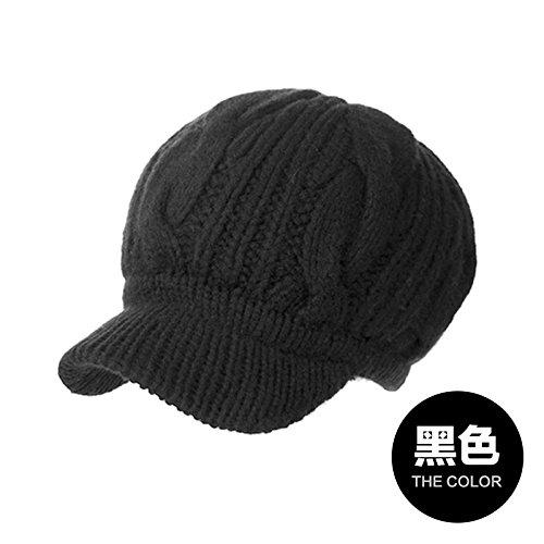 FQG*Cappelli invernali bambini autunno inverno marea maglia spessa cappello caldo pieno lavorato a maglia di lana tappi tappi per orecchie Berretti nero ,