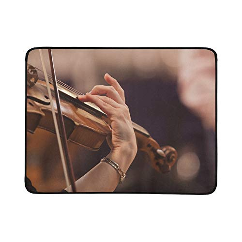 SHAOKAO Hand auf den Saiten Einer Violine Muster tragbare und Faltbare Kuschel-Matte 60x78 Zoll handliche Matte für Camping Picknick Strand Indoor Outdoor-Reise