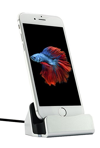 MyGadget Dockingstation Ladestation fürs iPhone (inkl. 1m Kabel) Dock Ladegerät für Apple Smartphone X,8, 7, 7 Plus, 6s, 6s Plus, 6, 5, 5s, 5c, SE, iPod nano 7, 5G in Silber
