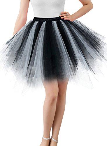 Wedtrend Damen Retro Petticoat Party Kurz Ballett Tanzkleid WTC10002-Black-White-2XL
