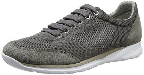 Geox Herrenschuhe U720HB Damian Sportlicher Herren Sneaker, Schnürhalbschuh, Freizeitschuh, Atmungsaktiv, Weiße Sohle Grau (GREYC1006)