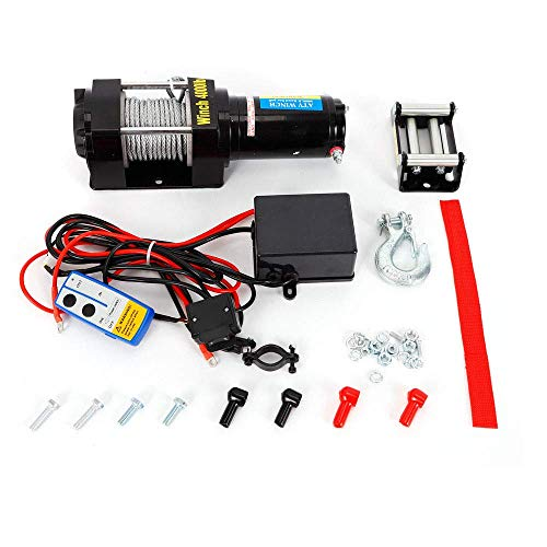 HYLH Verricello Elettrico 12V 1815KG Verricello Motore Fuoristrada radiocomando 12 Volt Telecomando