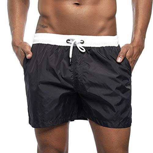 MOTOCO Herren Shorts Badehose schnell trocken Strand Surfen Laufen Schwimmen elastische Taille gespleißt Watershort Hose(2XL,Schwarz-1)