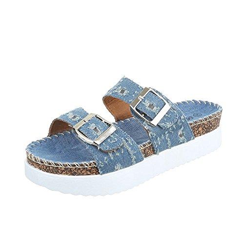 Pantoletten Damenschuhe Jazz & Modern Moderne Ital-Design Sandalen / Sandaletten Blau