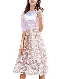 Vestiti Donna Elegante Manica Corta Estivi Colori Solidi Magliette Rotondo  Collo Due Pezzi Anni 20 Casual Moda… 5833d93a3a9
