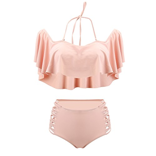 UTOVME Frauen-Schulter mit hoher Taille Flounce Bikini-Sets