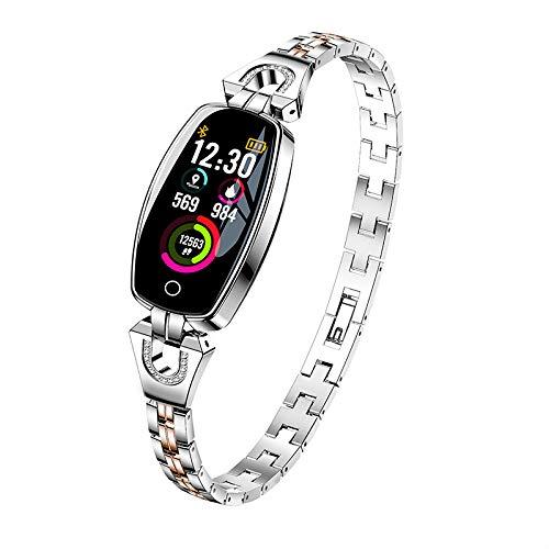 Lxmhz Reloj Inteligente para Mujeres, joyería a Prueba de Agua Rastreador  Salud Ejercicios con Ritmo cardíaco, presión Arterial y Monitor sueño