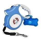 MOWIS Einziehbare Hundeleine 5m Hundeleine mit Anti-Rutsch Griff für kleine, mittlere Hunde bis zu 25Kg, 360° verdrehbar, LED Licht & Kotbeutelspender mit Kotbeutel