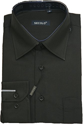 Hemd Business Hochzeits Hemd Anzug Hemd (40, Schwarz)