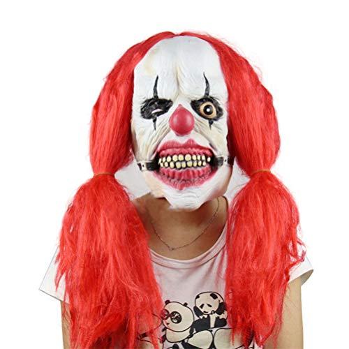 ASOSMOS Scary Killer Clown Maske mit roten Haaren Ghost Movie Masken Halloween Requisiten Fancy Kostüme ()