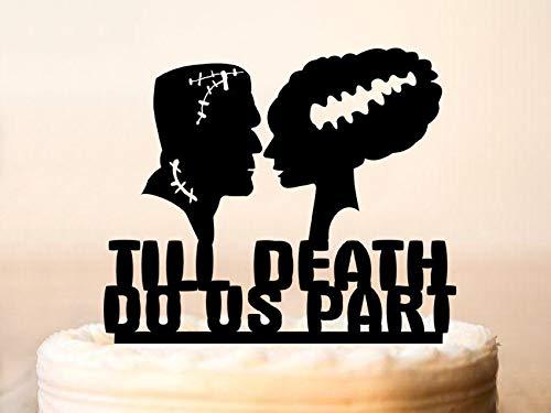 Tortenaufsatz mit Frankenstein und Braut, für Hochzeitstorte, Till Death Do Us Part, Halloween, Hochzeitstorte