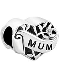 228e6eb88 Heart Mum I Love You Mother Family Filigree Charms Sale Cheap Beads fit  Pandora Chamilia Bracelet