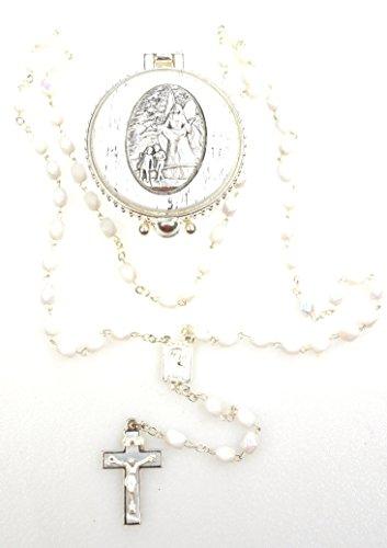 k.a Ersten Heiligen Kommunion, zur Taufe, zur Hochzeit, Rosenkranz Rosary,Schimmernde Perlen im Hochwertigen Schutzengel Schmuckdöschen