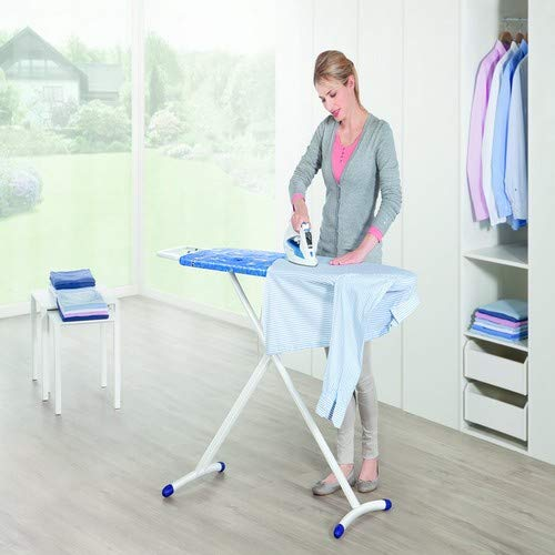 Leifheit Air Board M Solid - Tabla de planchar de plástico, color azul/blanco, 120x38 cm