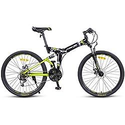 Bicicleta De Ciudad 24-Velocidades Bici Doblez Estructura de Acero de Alto Carbono para Unisex Adulto,Green,26inch