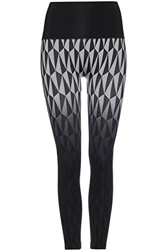FIND Damen Nahtlose Sportleggings mit Geo-Print Schwarz (Black/white), 38 (Herstellergröße: (Leggings 80er Jahre)