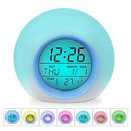 HAMSWAN Sveglia Digitale, Sveglia per Bambini, Sveglia con 7 Colori di Luci LED e 8 Tipi di Suoni, 12/24 Ore, Sveglia…