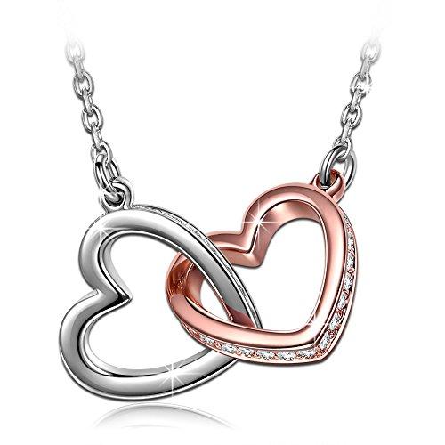 Kami Idea Muttertagsgeschenk Halskette Damen Kette mit Swarovski Steinen Gold Plattiert Herz Halskette mit Anhänger Schmuck zum Geburtstag Jubiläum Valentinstag Mutter Frau Tochter Mädchen Sie Ihr