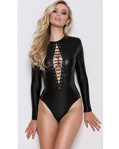 Ddsx Teddy Ensemble de lingerie sexy pour femme simili cuir noir Body Effet mouillé Clubwear, taille gratuit, 11