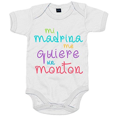Body bebé Mi madrina me quiere un montón - Blanco, 6-12 meses