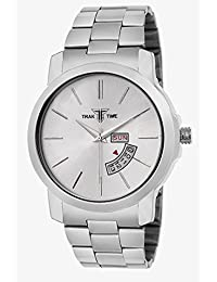 Traktime Day & Date Display Silver Steel Dial And Strap Analog Business Men Silver Day & Date Watch