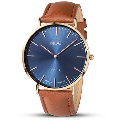 Herrenuhr Lederarmband Uhr Herren Armbanduhr Analoge Uhren Männer Rose Gold Braun Leder Männeruhr by MDC