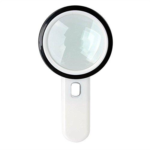Lupe 5x Fach Leselupe Handlupe mit 12 LED Lichter hohe Vergrößerungsglas Lesehilfe Juwelierlupe für Senioren zum Lesen mit Geschenk-Box