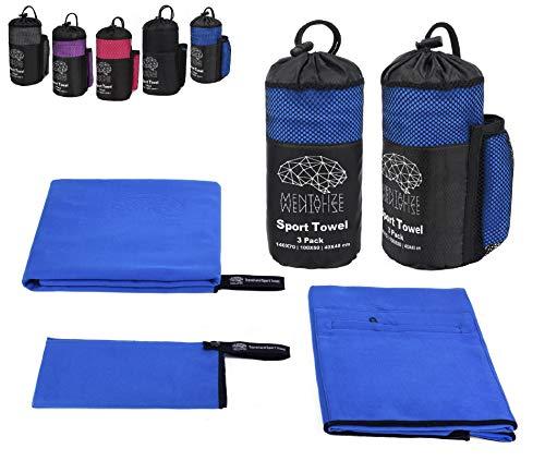 Mentalize® set di asciugamani in microfibra da palestra   asciugamano bagno grande da viaggio, sauna, mare   tasca incorporata (blu reale - nero, 3 pack 140x70;100x50;40x40cm)