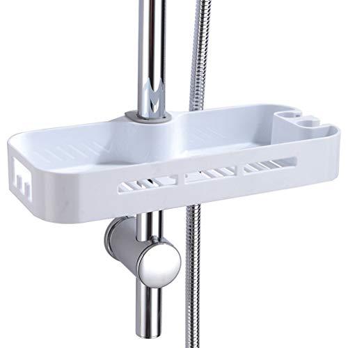 Verstellbar Duschablage zum Hängen Dusche Rack/Regal ABS mit Duschehalter und versteckt Haken, ohne Bohren zu installieren geeignet für alle Durchmesser von 19 bis 25mm Runde Duschstange PHASAT