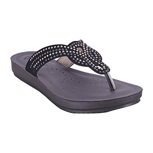 INBLU Women's Black Color Slippers (bm09black-38)