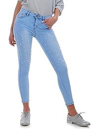La Modeuse Jeans femme coupe slim effet délavé et usé