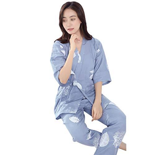 GJFeng Damen Frühling Und Sommer Japanischen Kimono Pyjamas Baumwolle Doppelschicht Gaze Dünnen Abschnitt Dampfenden Kleidung Bademantel Weich und bequem (Color : Blue, Size : M) -