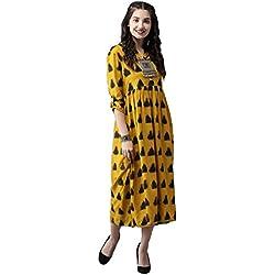 Amayra Women Rayon Anarkali Kurti(Mustard,M)